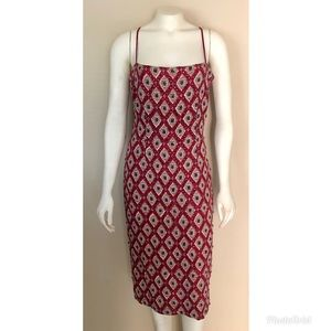 Arden B. Red Beaded Cocktail Midi Dress
